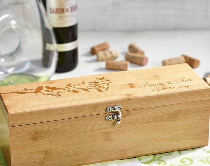 Personalized wooden wine box, Luxury wine box, anniversary gift, wedding gift, corporate gift, Christmas gift