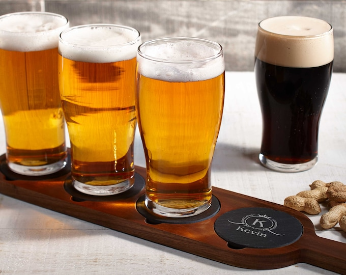 Personalized  flight board, Wooden beer flight, Beer Tasting,  Custom Beer Flight Paddle, Beer Serving Tray, Gift for him, Fathers day Gift