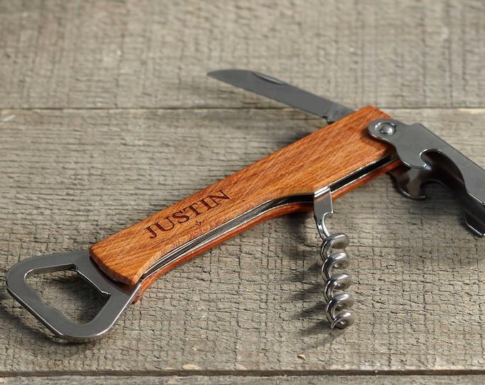 Personalized Wine Bottle Opener,  Personalized Bottle Opener, Custom Beer Opener, Engraved Multi Tool Corkscrew, Groomsmen gifts