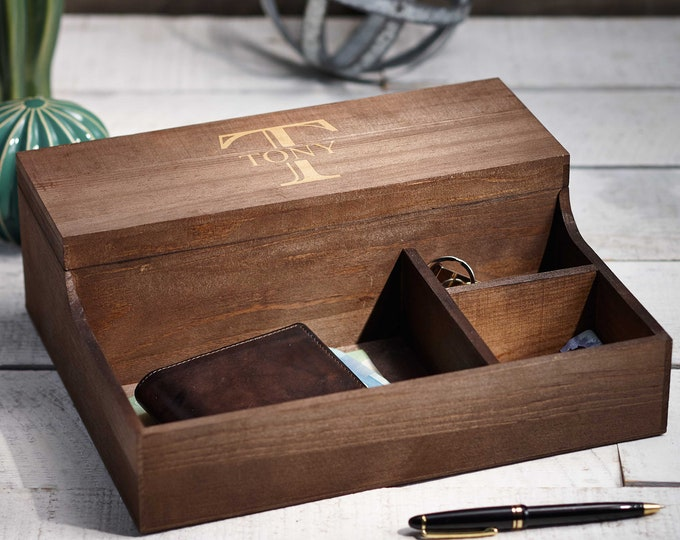 Personalized Wood Watch Case, Custom Watch Organizer, Wooden Storage Box, Valet Watch Box, Father's Day Gift, Gift For Him