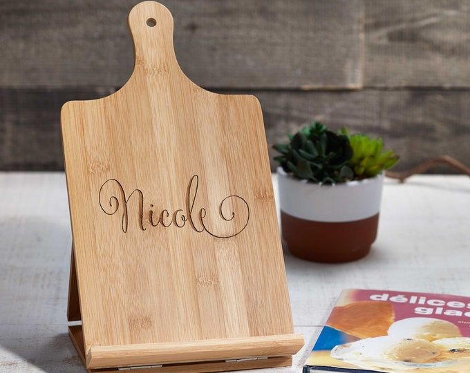 Personalized tablet holder, Recipe holder, iPad stand, Custom cookbook stand,  Customized bamboo stand, engraved iPad holder, Chef easel