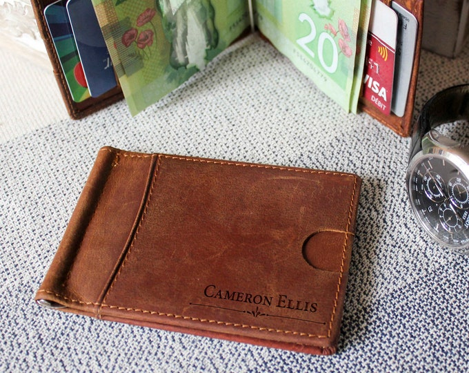 Money Clip wallet, Personalized Leather Money Clip Wallet. Boyfriend Gift, personalized wallet, Fathers day gift, Gift for him