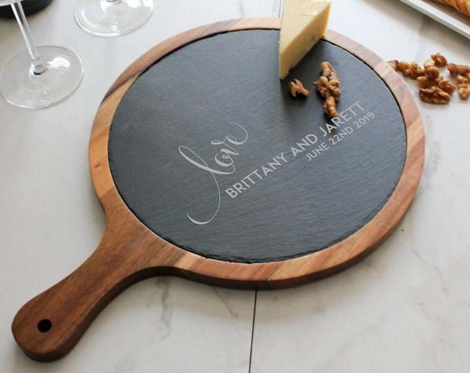 Rounded cheese board , Custom cheese board With handle, Slate board, Wedding gifts, Gifts for the couple, Christmas gifts