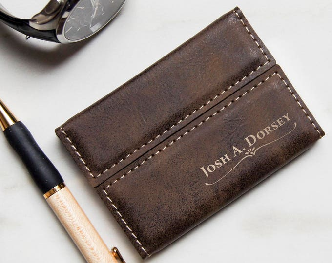 Customized Business Cards Holder, Personalized Leatherette Business Cards Holder, Engraved Business Cards cases