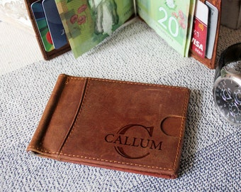 1c7f085ec12f Money Clip wallet, Personalized Leather Money Clip Wallet. Boyfriend Gift,  personalized wallet, Fathers day gift, Gift for him