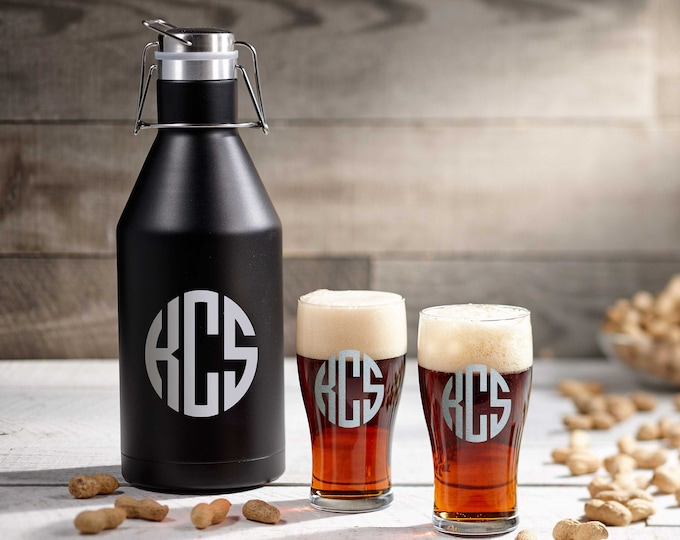 Personalized Growler, Engraved Stainless Steel Insulated Growler, Monogrammed Growler, Custom 64 oz Growler, Gift for him
