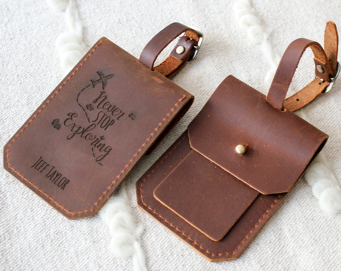 Personalized Luggage Tag, Genuine Leather Luggage Tag, customized Bag Tag, Gift for him, custom engraved luggage tag, Monogram Luggage Tag
