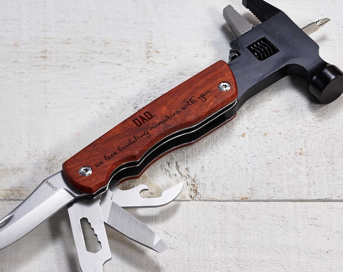 Personalized Hammer Multi Tool, Multi Tool With Wooden Handel, Gift For Him, Father's Day Gift, Groomsman gift