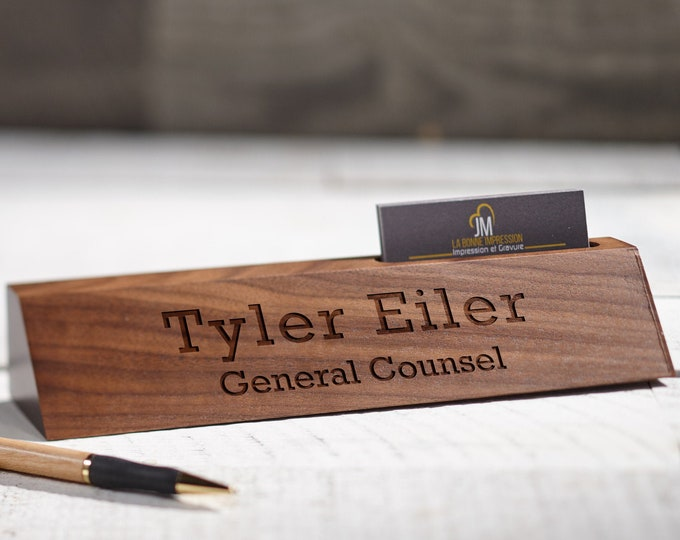Personalized Wooden Desk Name, Desk wedge card holder, Customized Walnut desk name, Executive Personalized Desk Name Plate, wooden sign