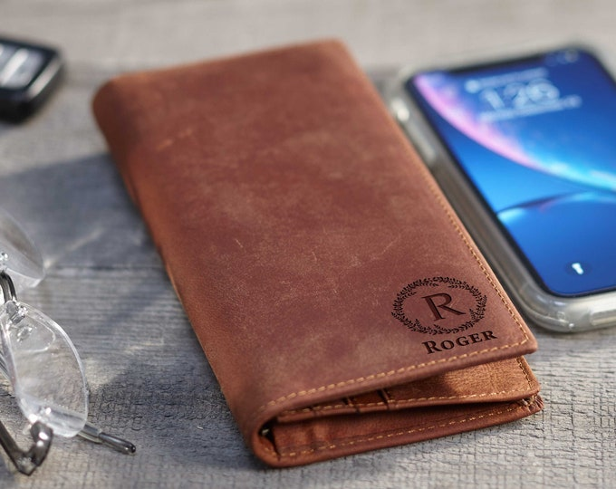 Mens wallet, Crazy Horse Leather Wallet, personalized wallet,Fathers day gift, tall wallet, Distressed Leather Wallet, Valentines gift