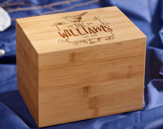 Personalized Recipe box, Custom Recipe Box, Family Gift, Engraved Recipe Box, Gift for her, Mother's day gift, Christmas gift