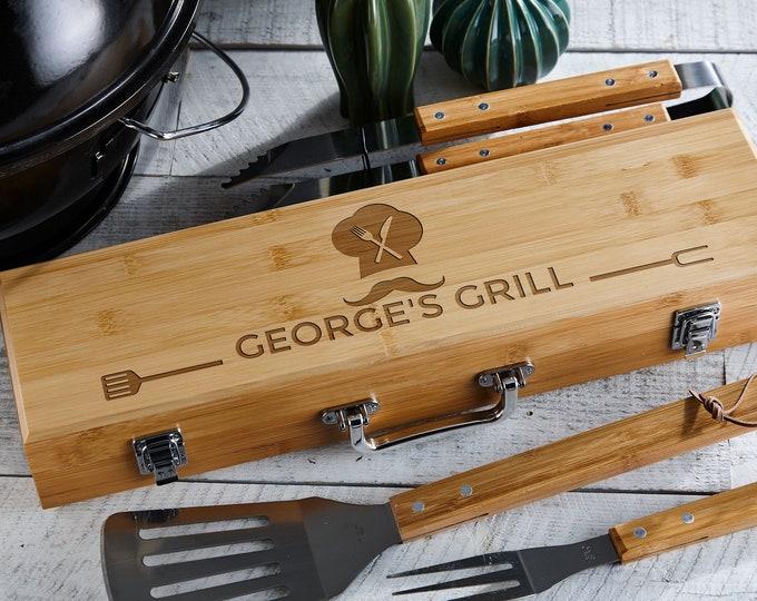 Personalized BBQ Set, Engraved BBQ set, Customized BBQ Utensil Set,  Personalized Grill Tool Set