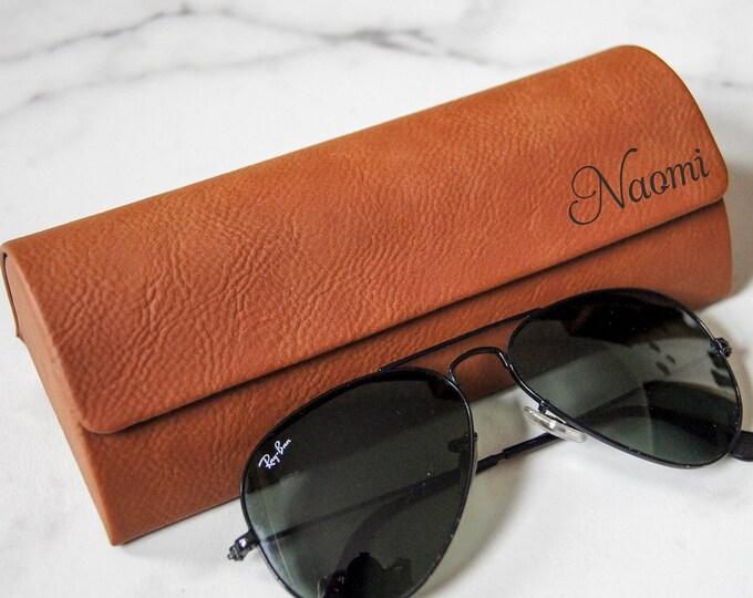 Personalized sunglasses case, customized eyeglass case, laser engraved sunglasses case, leatherette sunglasses case