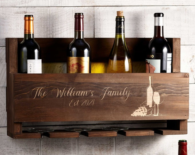 Personalized Wine Rack, Customized Bottle Wine Rack, Rustic Wine Rack, Wall Mounted Wine Rack, Gift for the couple, Christmas Gift