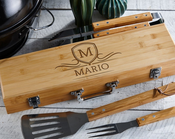 Personalized BBQ Set, Engraved BBQ set, Customized BBQ Utensil Set,  Personalized Grill Tool Set, Gift for him, Fathers Day Gift