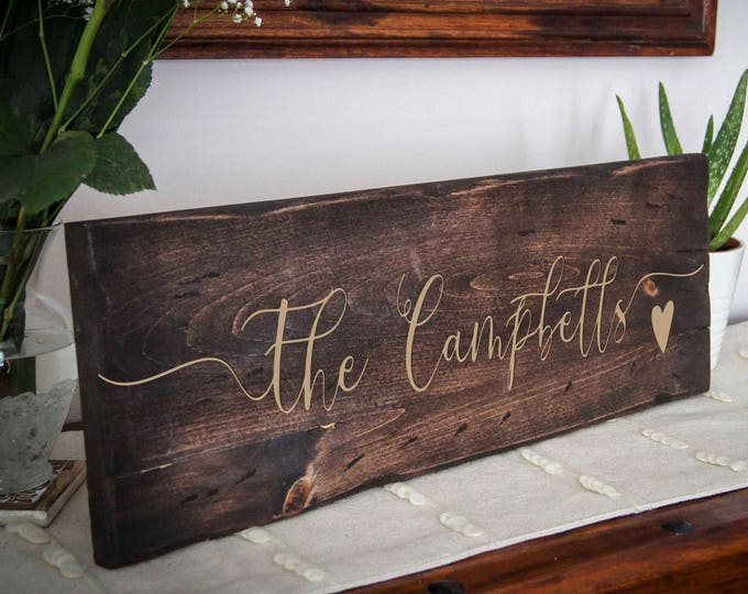 Custom wood signs, Personalized Family name wood sign, Rustic Wall Sign, Farmhouse Style Decor,  Decorative Sign, Housewarming gift