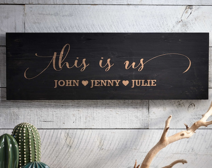 Custom wood signs, This is us wood sign, Rustic Wall Sign, Farmhouse Style Decor,  Decorative Sign, Housewarming gift