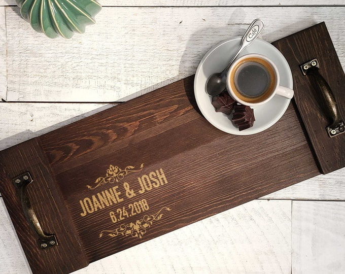 Personalized  Rustic serving Tray, Custom serving tray, wedding gifts, Wooden tray,  Housewarming gifts, Christmas gift