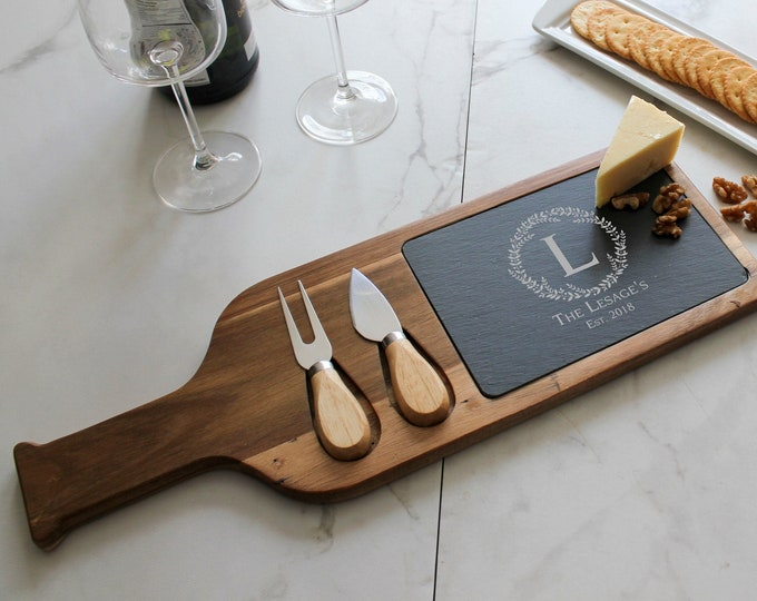 Personalized cheese board set, Custom cheese board With Utensils, Slate board, Wedding gifts, Gifts for the couple, Christmas gifts