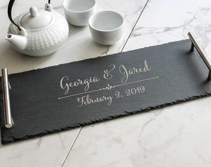 Personalized serving Tray, Custom serving tray, wedding gifts, Slate tray,  Live Edge serving tray, Housewarming gifts