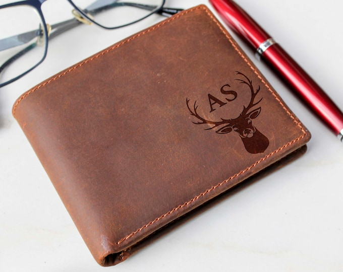 Mens wallet, Cowhide Leather Wallet, personalized wallet, Fathers day gift, customized wallet, graduation gift, Valentines gift, Coin Wallet