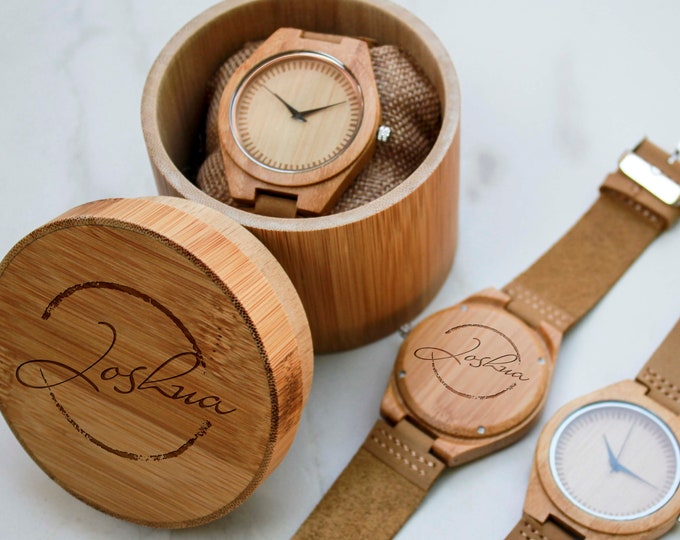 Personalized Wooden Men's Watch, Engraved Watch for Men , Wood Watch, Gift for Him, Husband gift, Groomsmen Gift, Fathers day gift