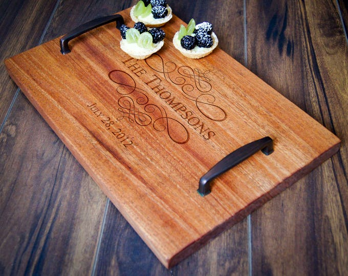 Personalized serving Tray, Custom serving tray, wedding gifts,  Wood serving tray, Housewarming gifts, Laser engraved, Customized tray