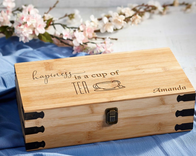 Personalized Tea Box, custom engraving Tea Box, Mothers day Gift, Bamboo Tea Box, Gift for her, Christmas gift