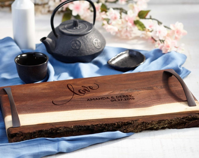 Personalized serving Tray, Custom serving tray, wedding gifts,  Live Edge serving tray, Housewarming gifts
