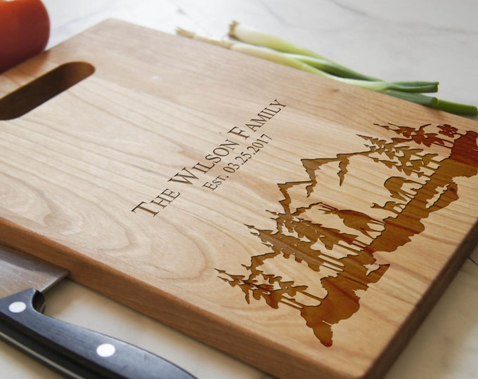 Personalized Cutting Board with handle, Engraved cutting board, customized cutting boards, housewarming gifts, wedding gift, Christmas gift