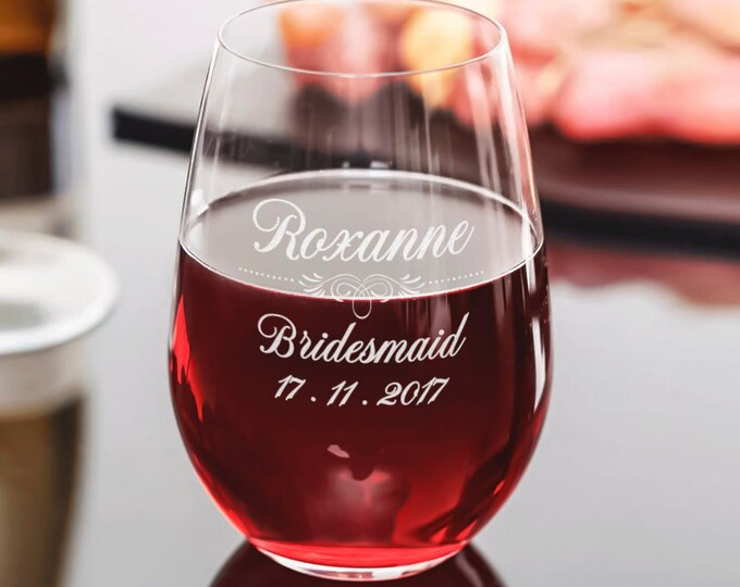 Personalized wine Glass, wine glasses, Stemless wine glass, Engraved Glass, Monogram wine Glass, wedding gifts, bridesmaid gifts