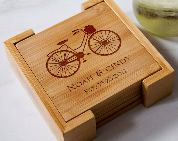 Personalized bamboo coasters, housewarming gifts, wedding gifts, custom engraved coasters