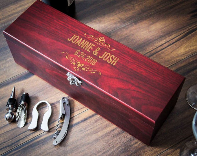 Personalized wooden wine box, anniversary gift, wedding gift, corporate gift, Christmas gift