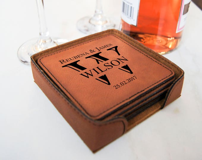 Personalized Leatherette coasters, housewarming gifts, wedding gifts, custom engraved coasters