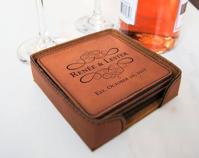 Personalized Leatherette coasters, housewarming gift, wedding gift, custom engraved coasters, Fathers day gift.