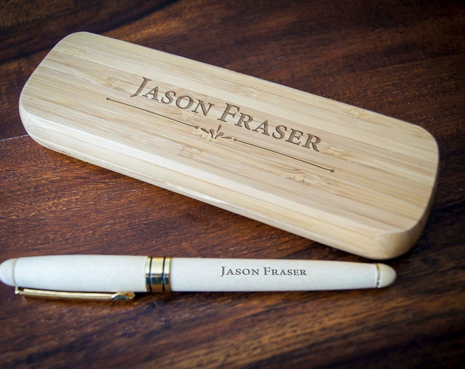 Personalized Pen and box, Fathers day gift, Gift for him, Engraved pen, Office gift, Custom bamboo wooden box