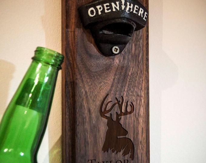 Personalized Bottle opener, Customized beer bottle opener, engraved wood bottle opener, Wall mounted bottle opener, Christmas gift