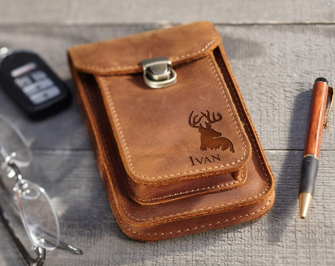 Personalized Belt Cell Phone Case, Vertical Leather Cell Phone Case,Fathers day gift, Distressed Leather Wallet, Valentines gift