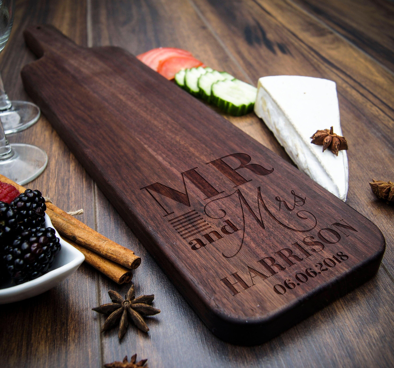 Baguette Wood Cutting Board Personalized Cheese Board Bread Board