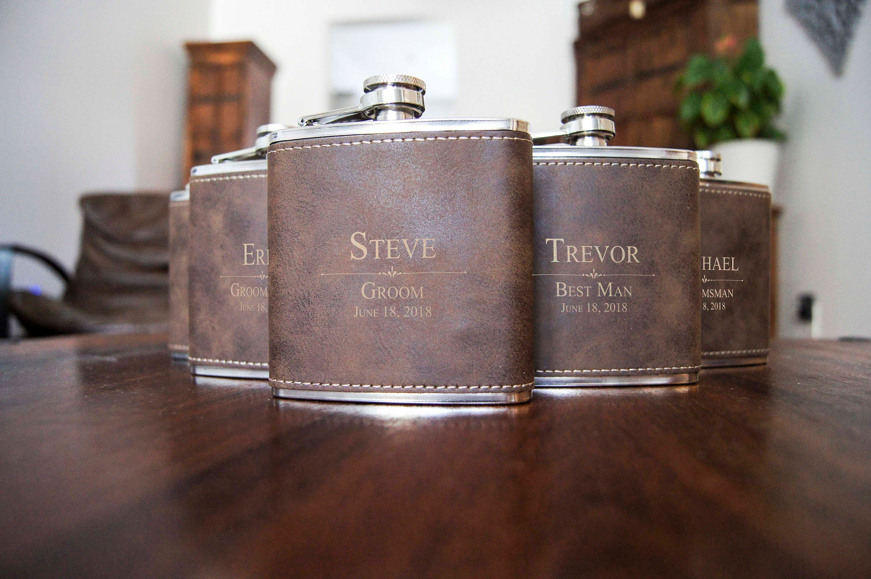 Personalized Set Of 5 Flasks Groomsmen Wedding Gift Best Man
