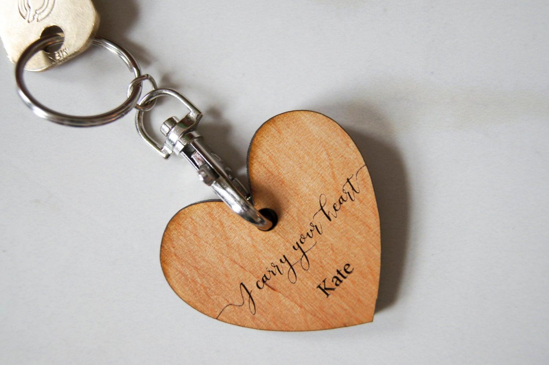 Personalized Wood Keychains, Customized Keychains, Heart shape