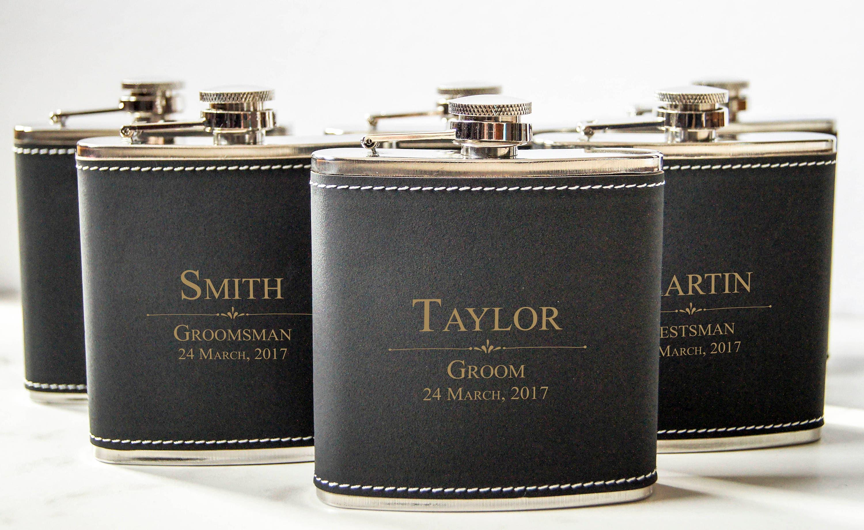 Personalized Set Of 9 Flasks Groomsmen Wedding Gift Best Man