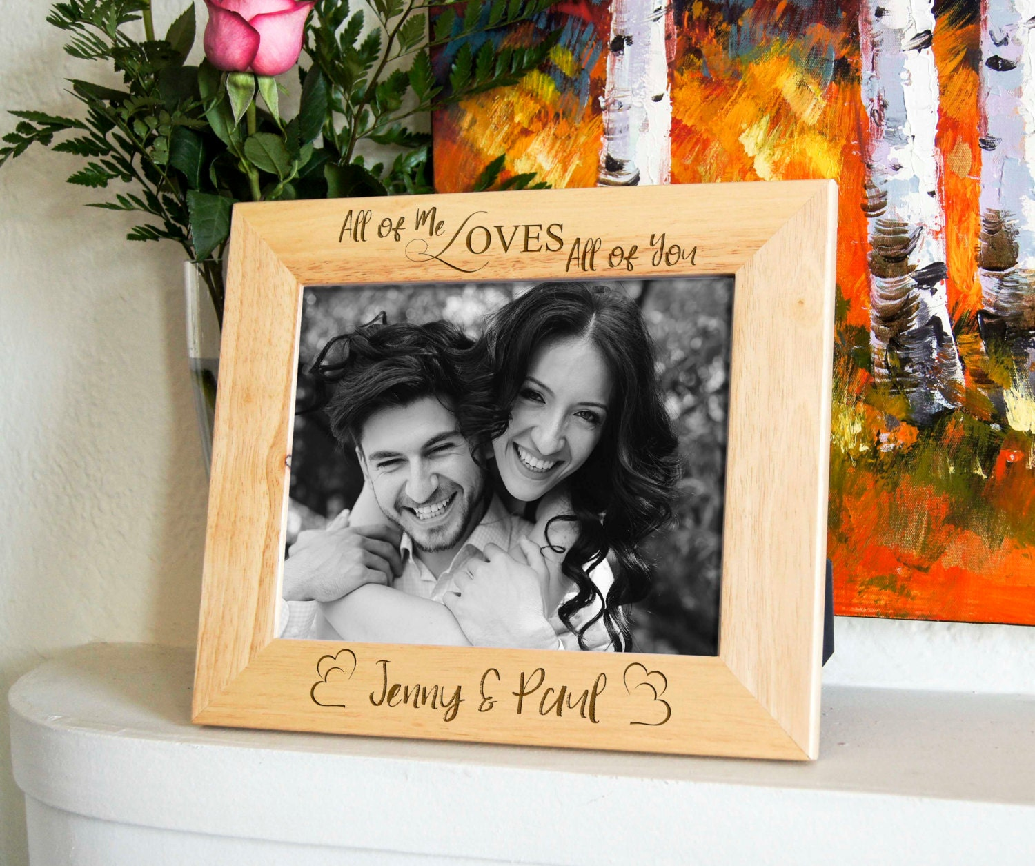 Personalized Engraved Frame Custom Photo Frame Valentine Gifts