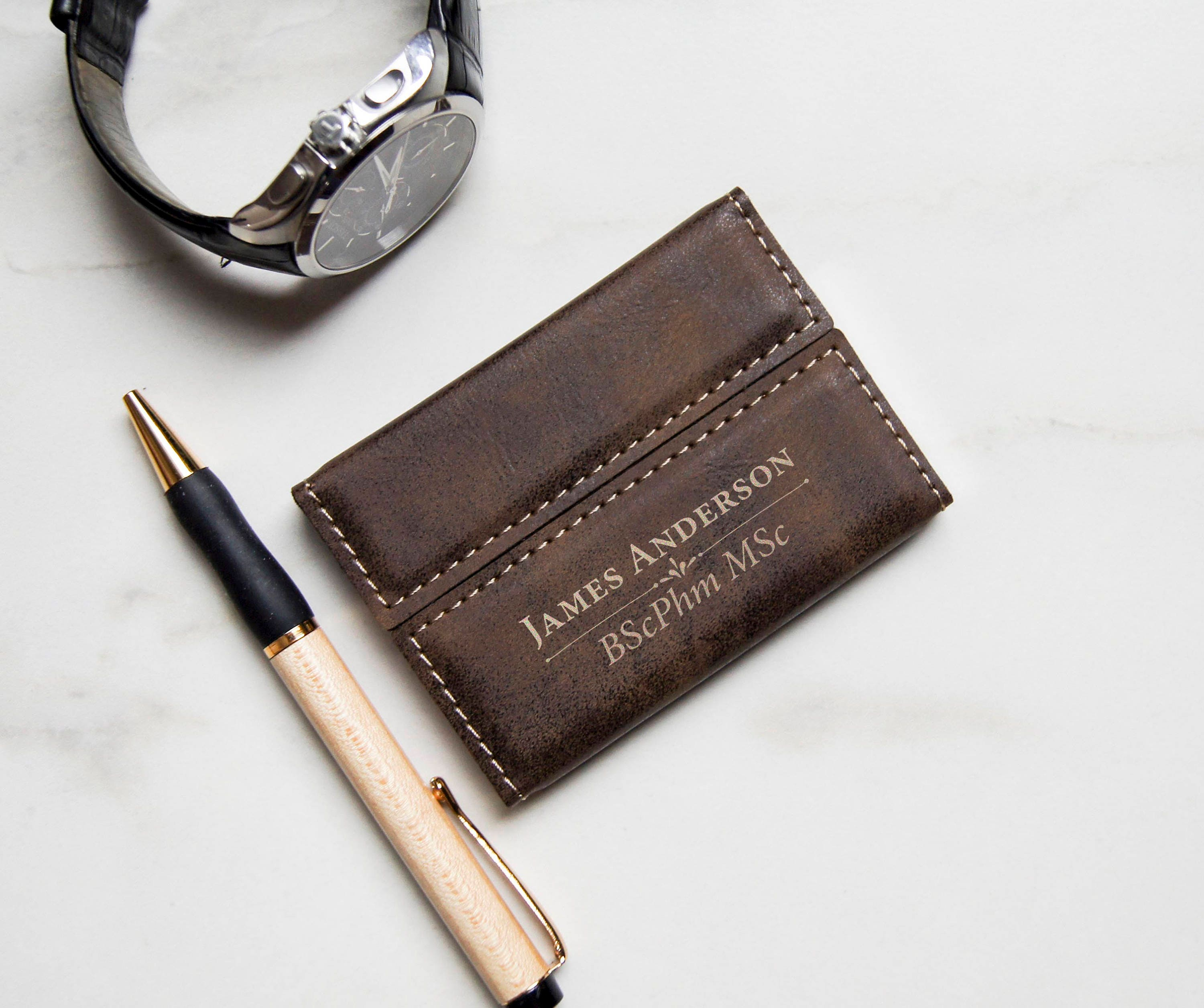 Customized Business Cards Holder, Personalized Leatherette Business ...
