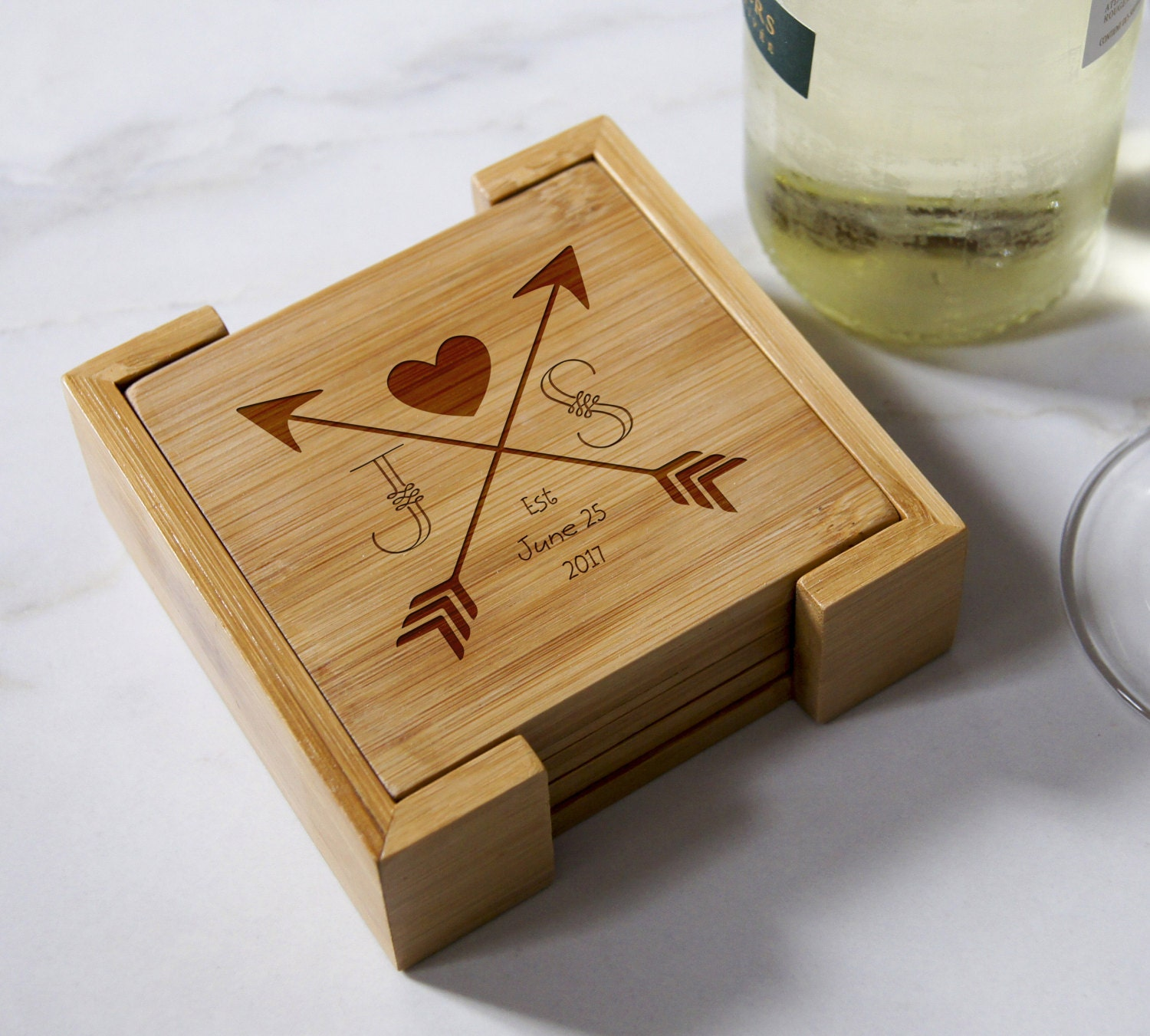 Personalized bamboo coasters, housewarming gifts, wedding gifts, custom engraved coasters, set of coasters