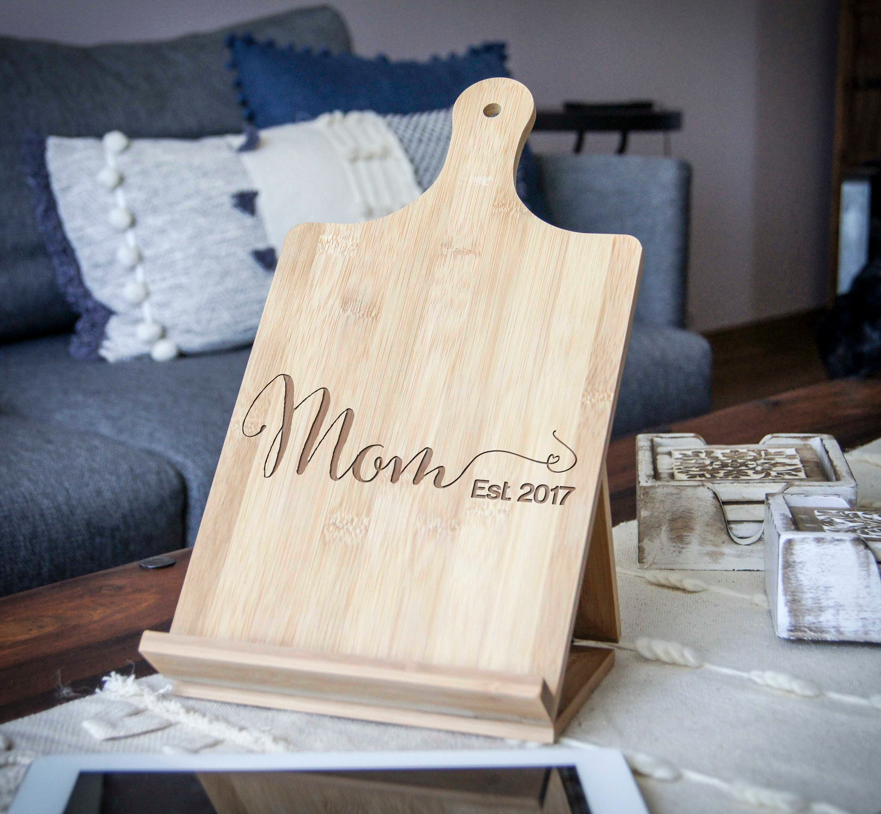 High Quality Personalized Tablet Holder, Recipe Holder, IPad Stand, Custom Cookbook  Stand, Customized Bamboo Stand, Engraved IPad Holder, Chef Easel