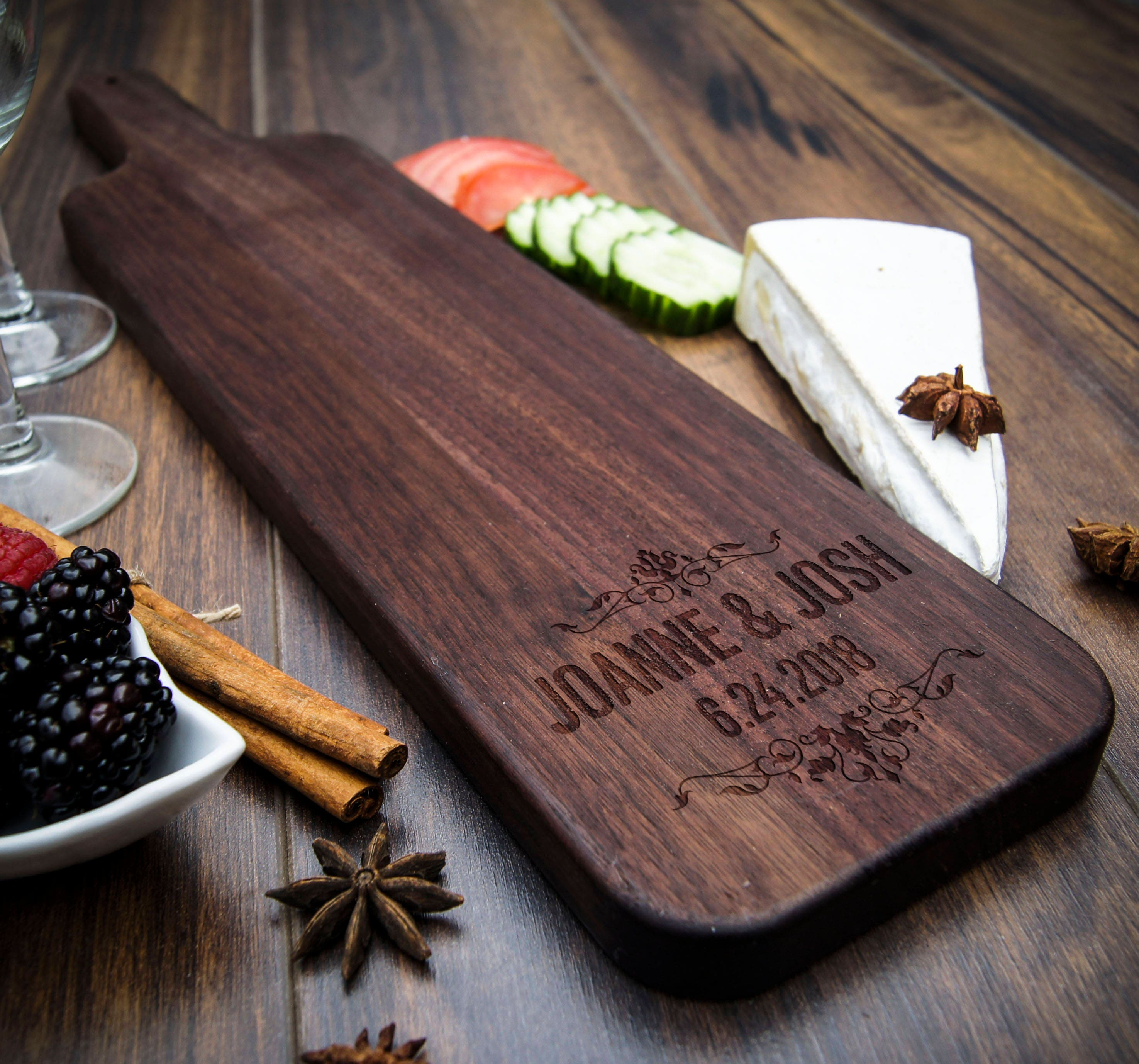 Baguette wood cutting board, Personalized cheese board, wedding gift ...