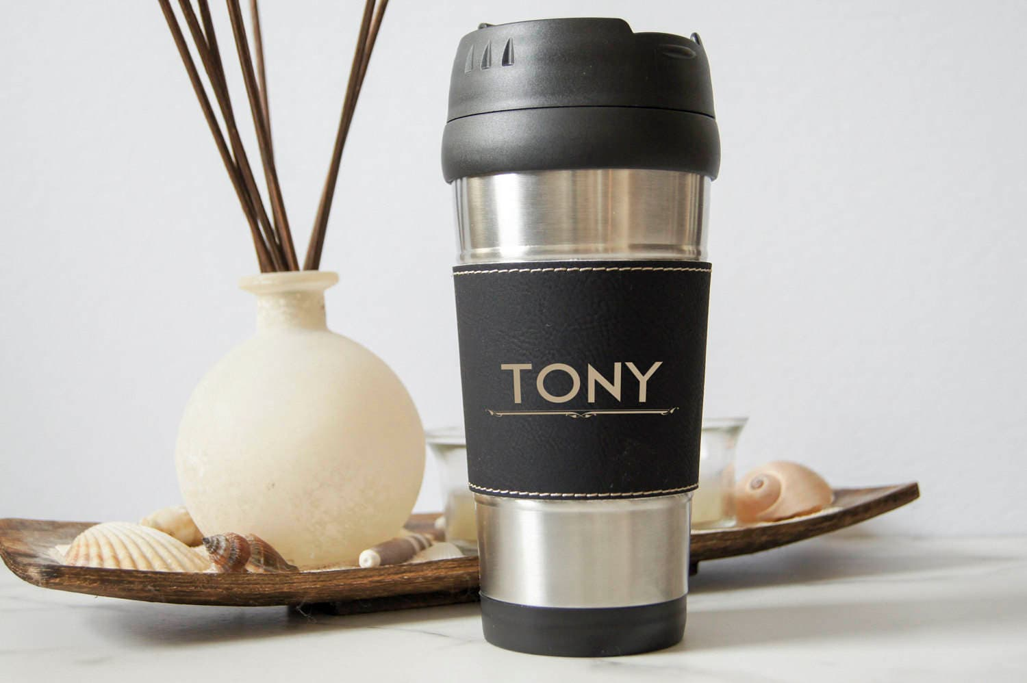 personalized travel mug customized leatherette stainless steel