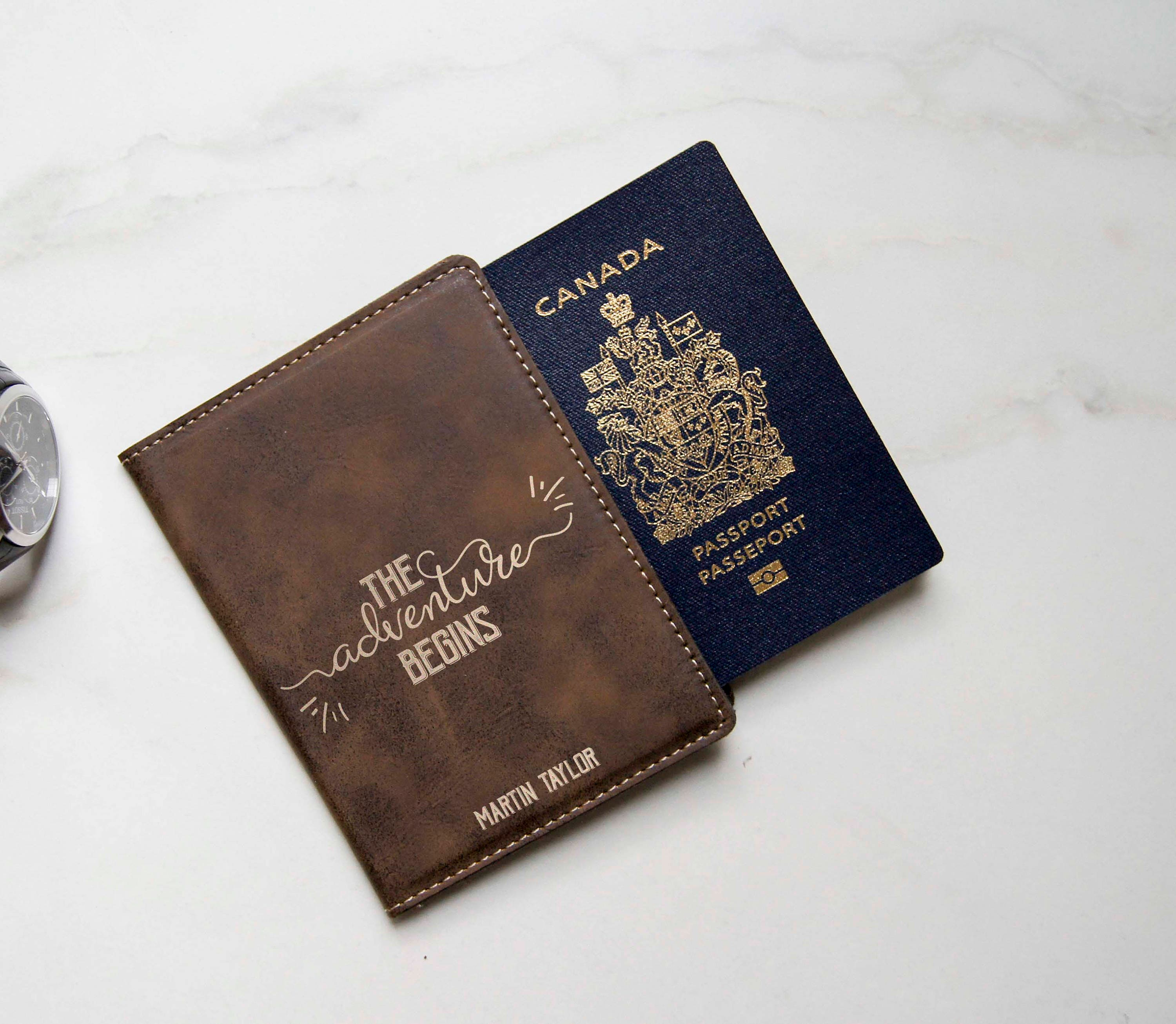 Custom Passport Cover Personalized Holders Engraved Leatherette