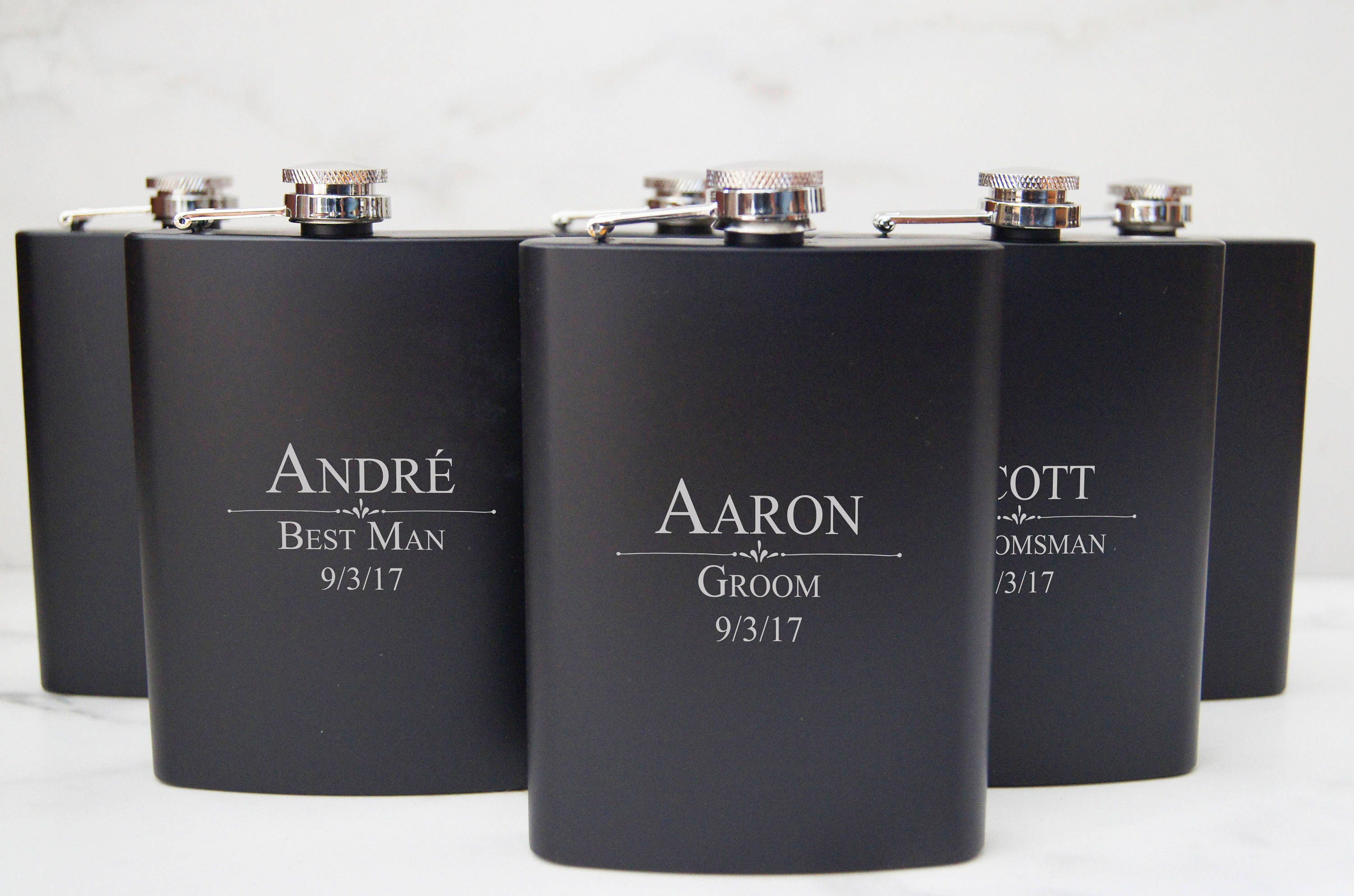 Personalized Set Of 8 Flasks Groomsmen Wedding Gift Best Man